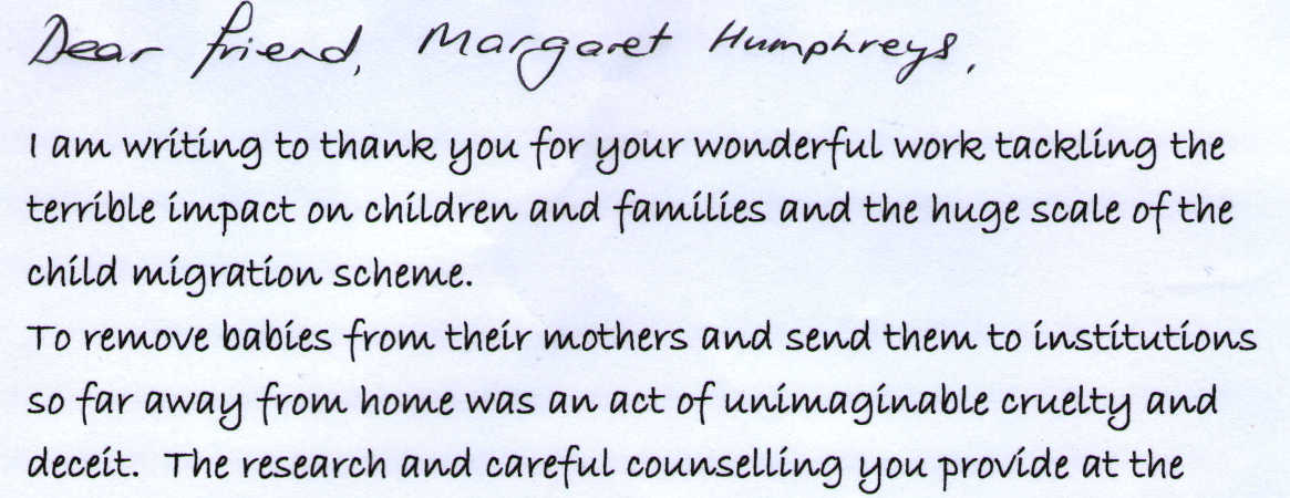 Letter to Margaret Humphreys from Kate Foale