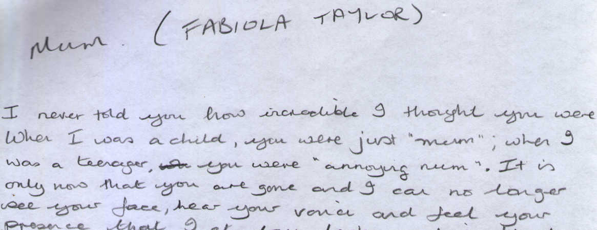 Letter to Fabiola Taylor from Marguerite Taylor
