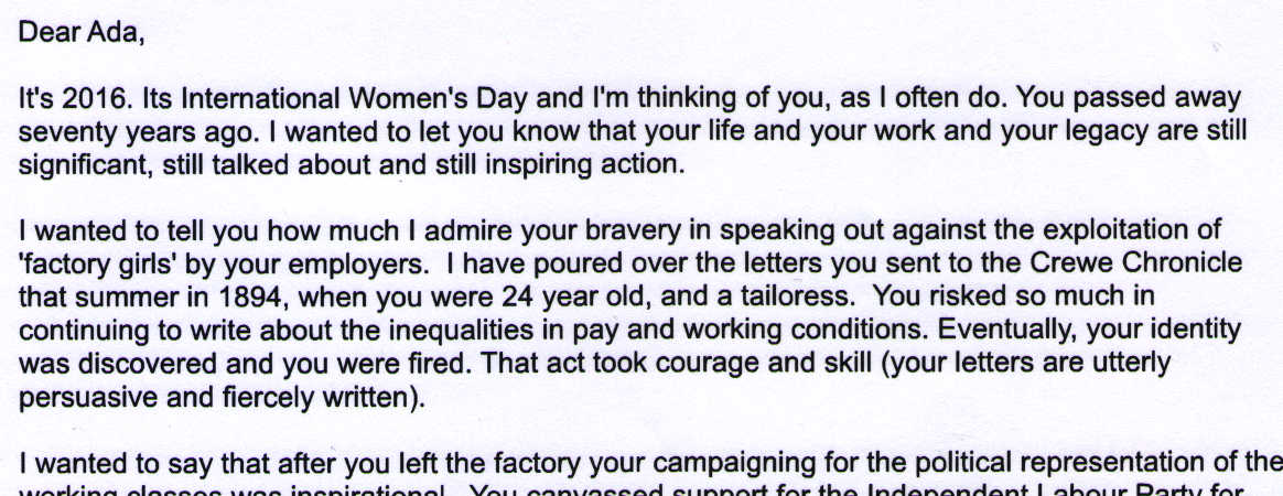 Letter to Ada Nield Chew from Kirsty Bunting