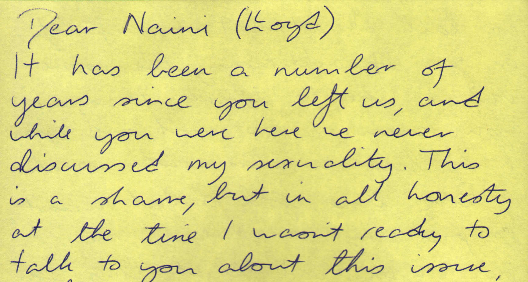 Letter to Naini Lloyd from anonymous