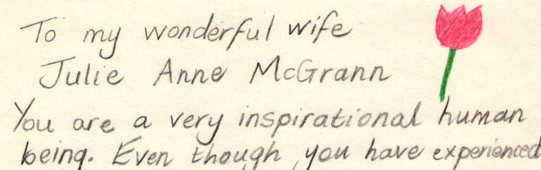 Letter to Julie McGrann from Danny McGrann