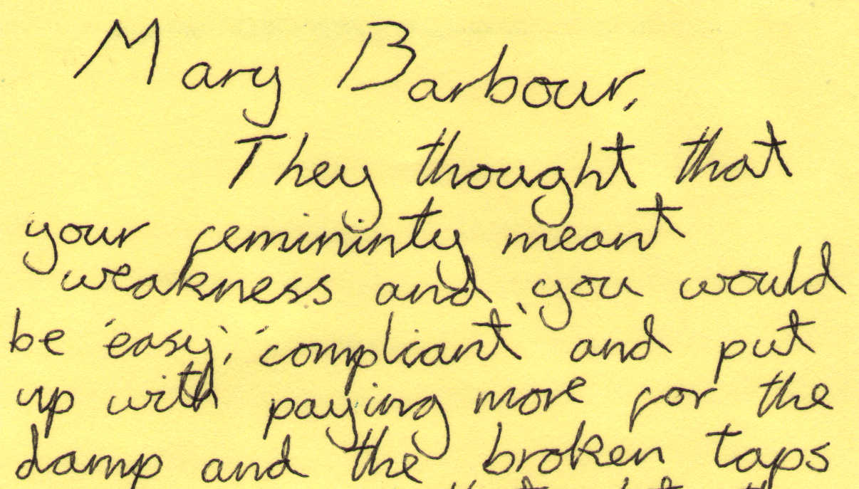 Letter to Mary Barbour from Freja Bailey