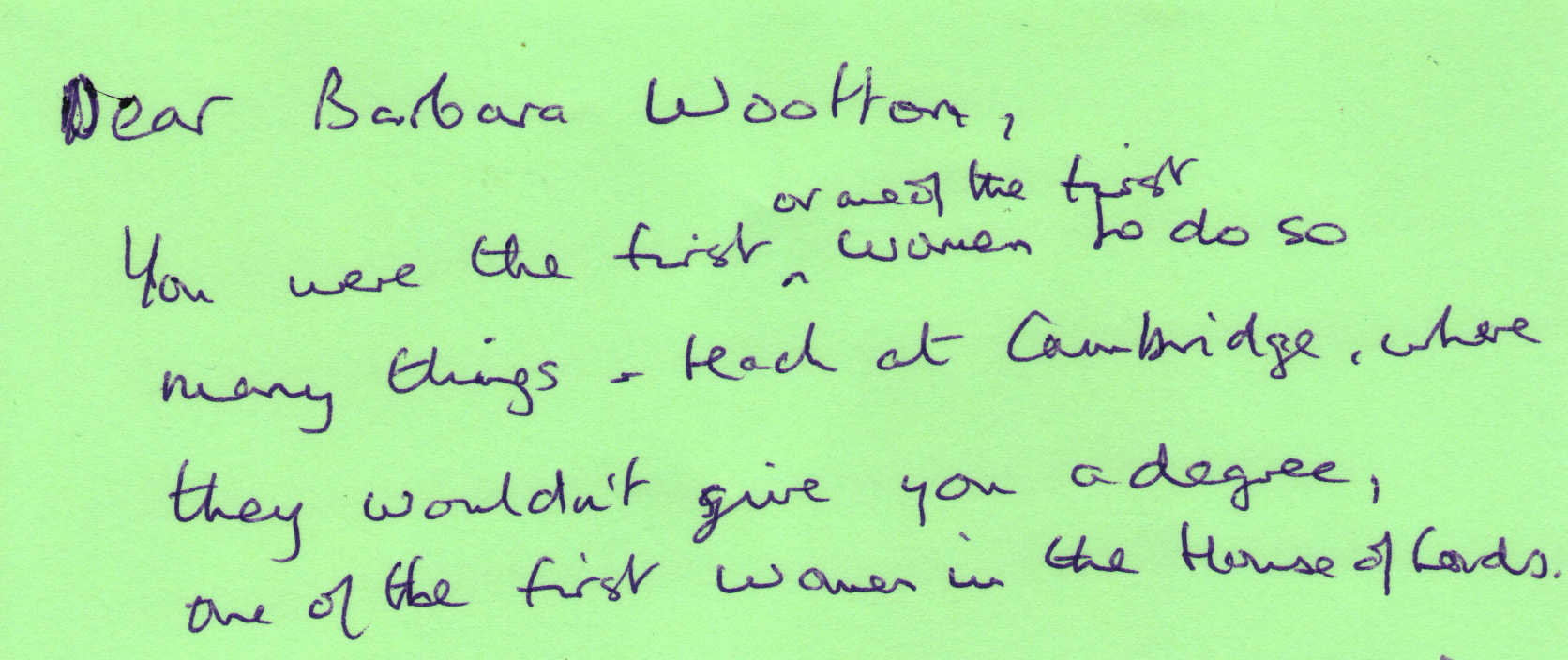 Letter to Barbara Wootton from June Westley