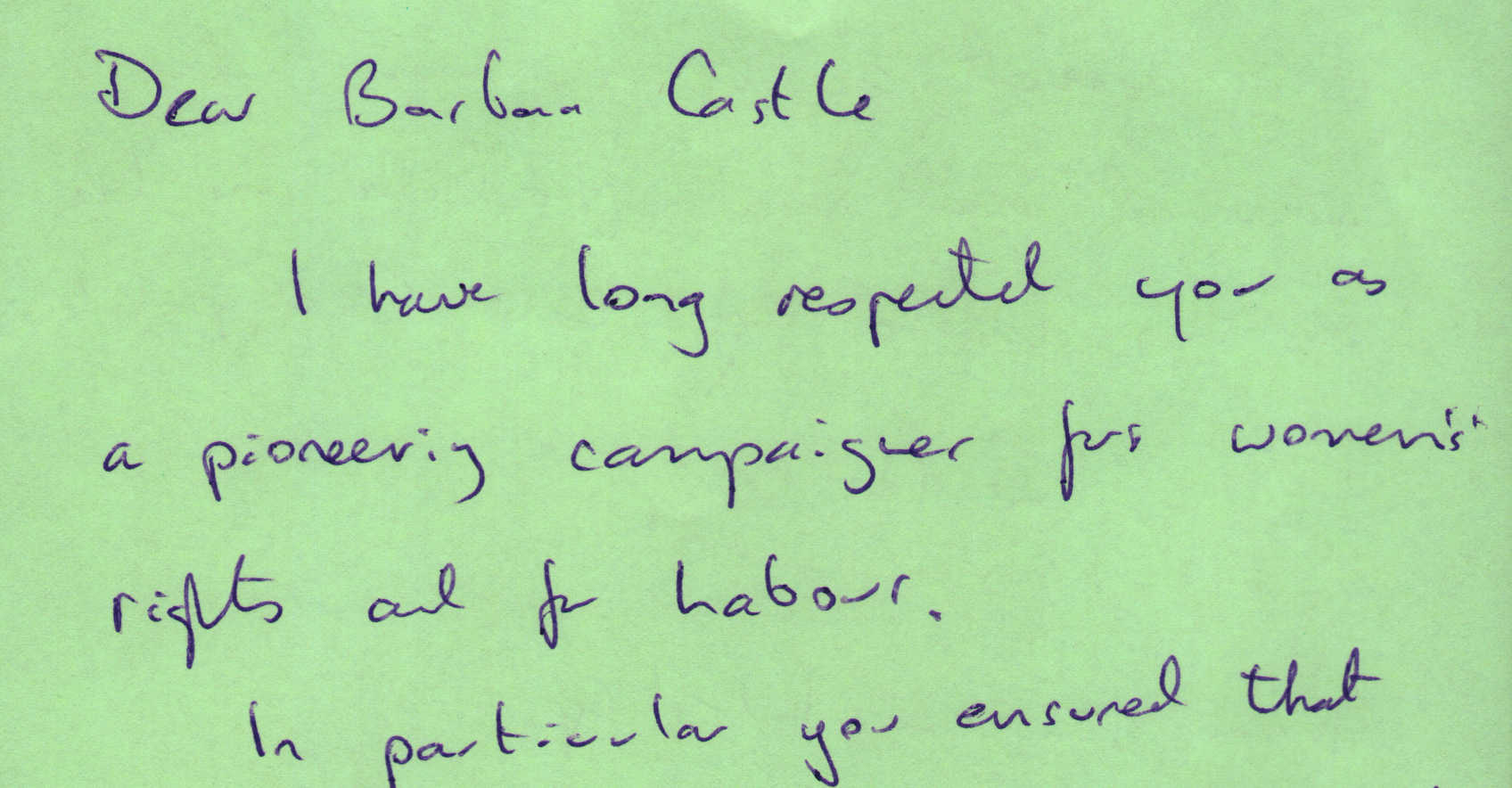 Letter to Barbara Castle from Keith Westley