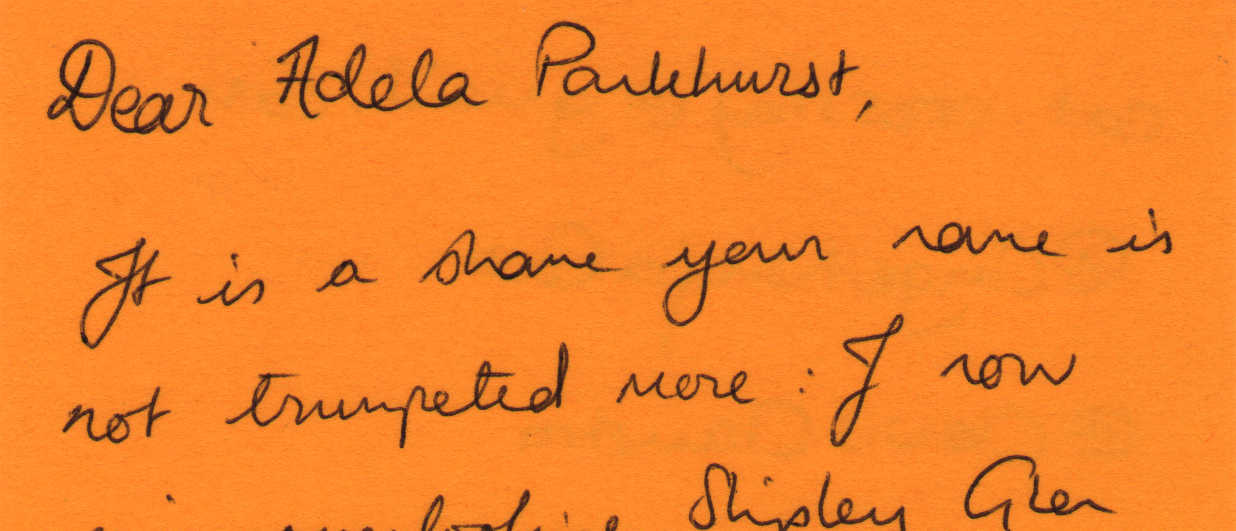 Letter to Adela Pankhurst from Cat Crossley