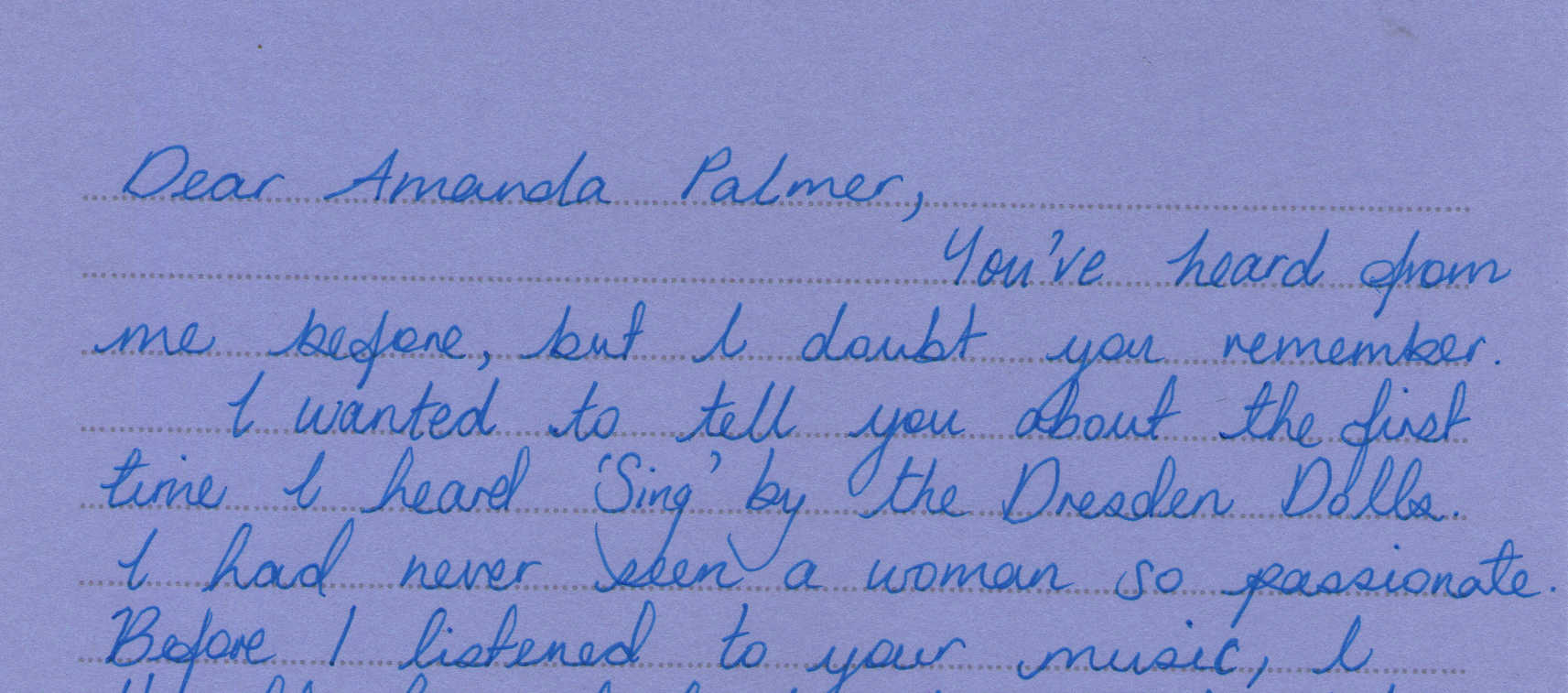Letter to Amanda Palmer from Krystie Norcliffe