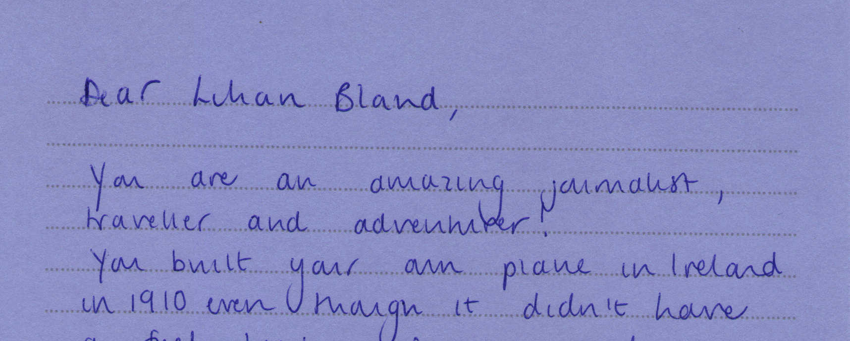 Letter to Lilian Bland from Lucy Hartley