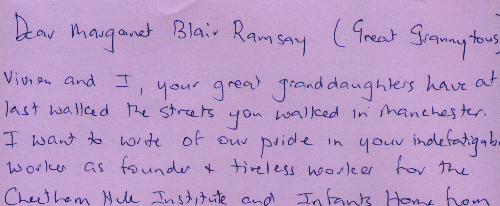 Letter to Margaret Blair Ramsay from Frances White