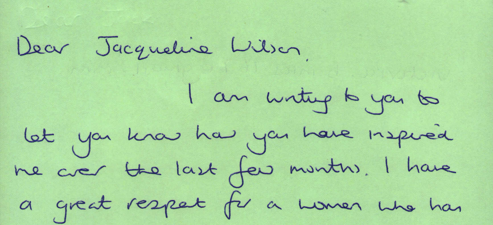 Letter to Jacqueline Wilson from Victoria Banks