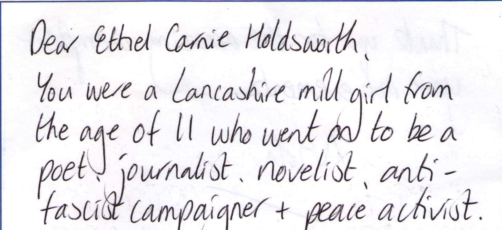 Letter to Ethel Carnie Holdsworth from Nicola Wilson