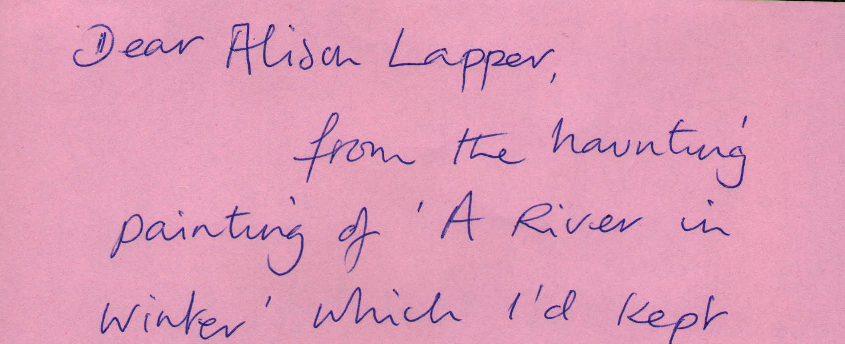 Letter to Alison Lapper from Jane McIver