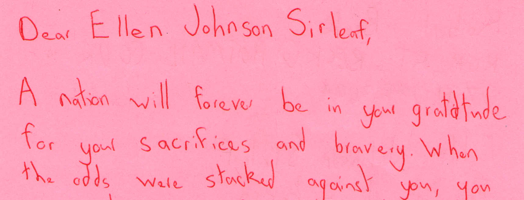 Letter to Ellen Johnson Sirleaf from Robert Beck